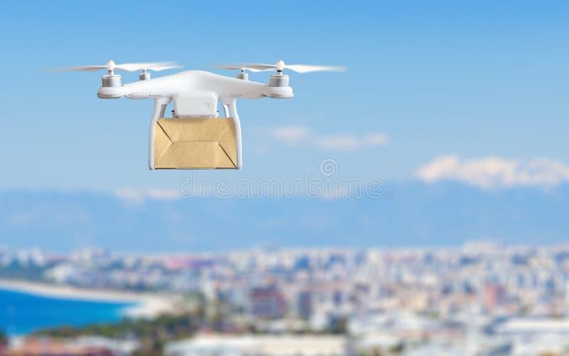 Inovação tecnologico da expedição - conceito rápido da entrega do zangão fotografia de stock