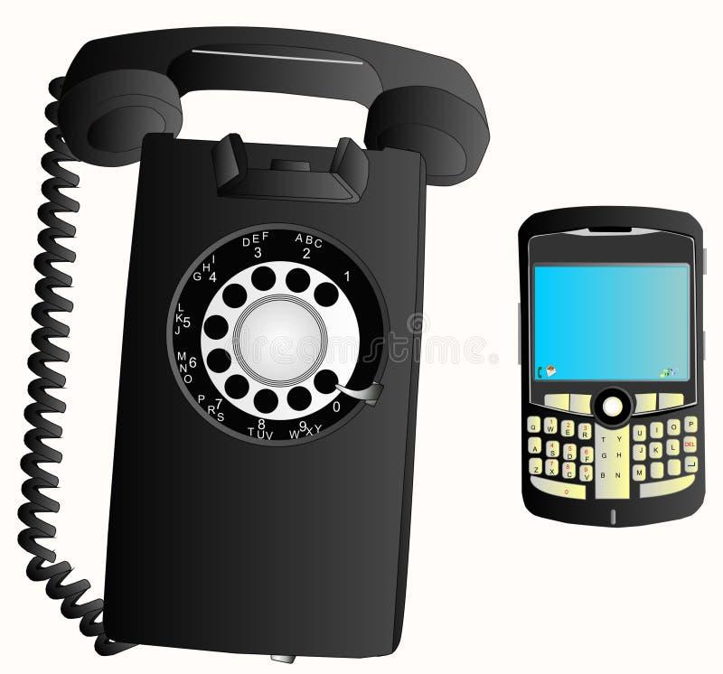 Inovações - mudanças do telefone sobre 50 anos? ilustração do vetor