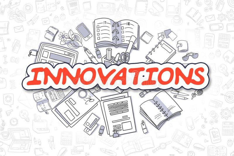 Inovações - palavra do vermelho dos desenhos animados Conceito do negócio ilustração royalty free