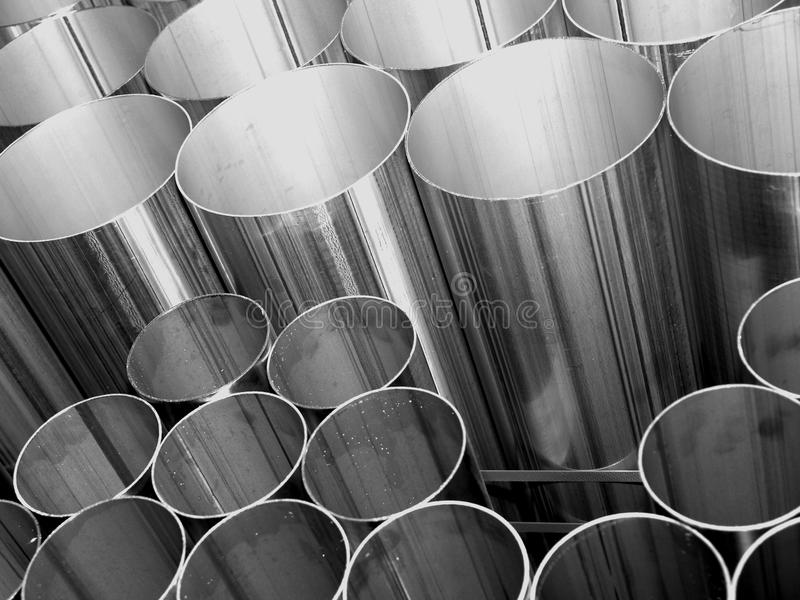 Inox Steel pipes on black and white stock photo