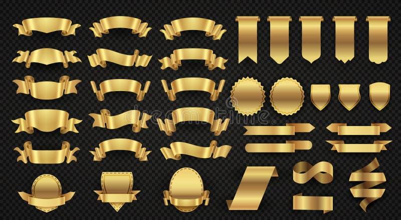 Inpackning av guld- banerband, eleganta guld- designbeståndsdelar stock illustrationer