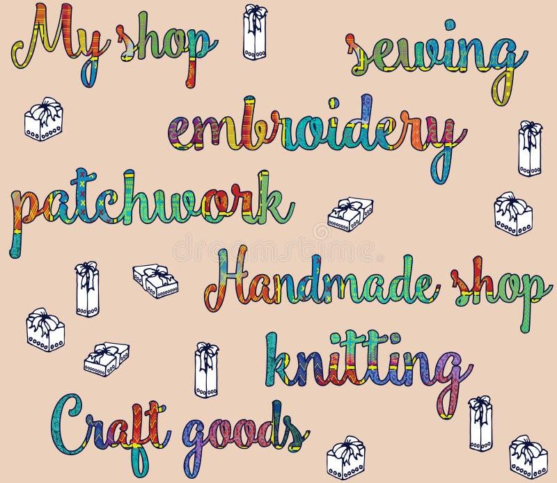 Inpackningspapper för gåvor från shoppar av handgjord nakenstudie för hantverkarbetsfärg royaltyfri illustrationer