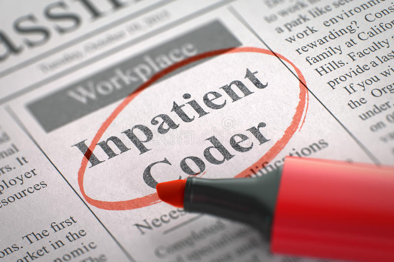 Inpatient Coder Wanted. 3D Illustration. stock illustration