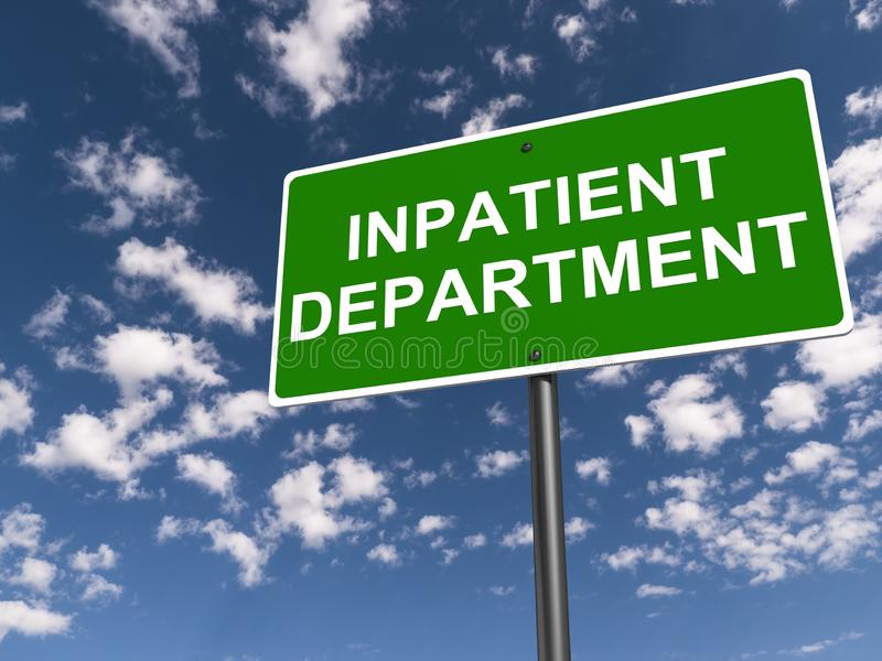 Inpatient department traffic sign royalty free stock photography