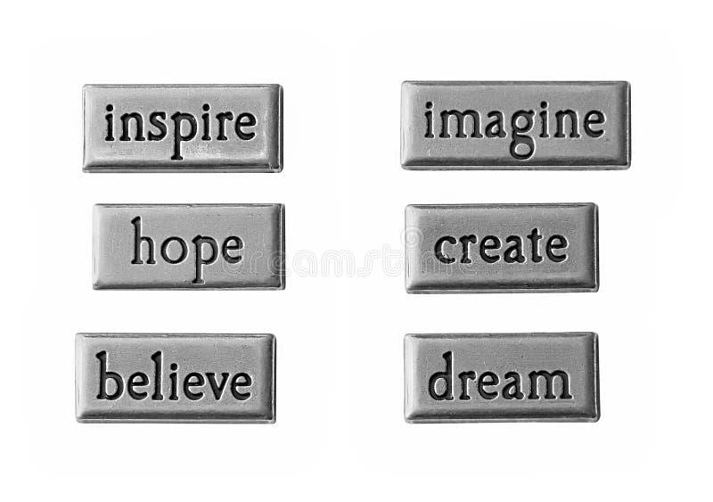 Inpirational words stock photography