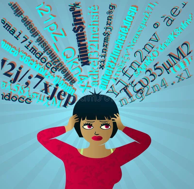 Input-Überlastung: Mädchen unter Druck überwältigt durch Informationen stock abbildung