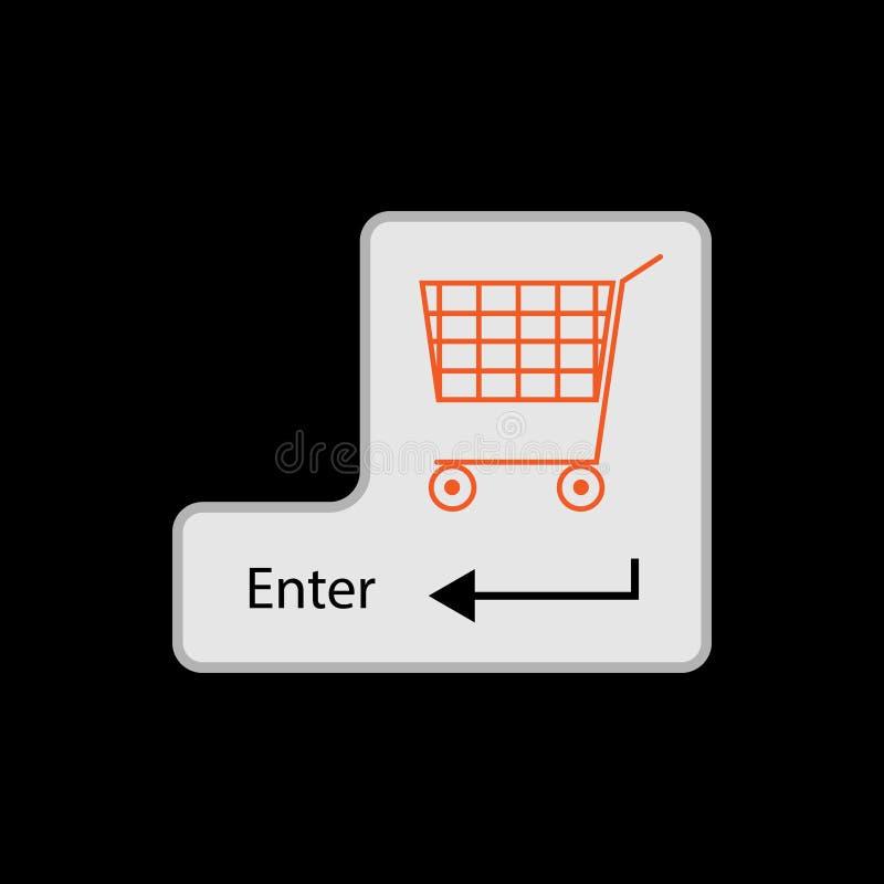 Input key with shopping cart image on black background stock illustration