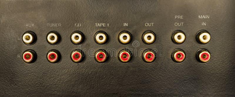 Input/Output Audioverbindungsstücke stockbild