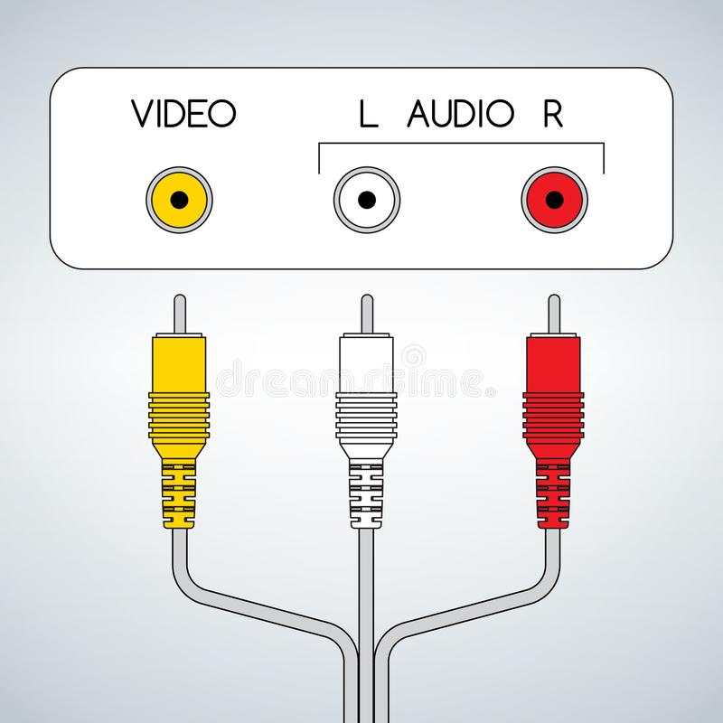 Input rca audio video jacks with cable stock illustration