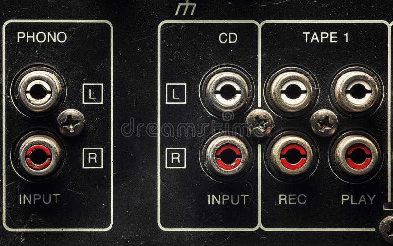 Inputs on an old Amplifier royalty free stock image