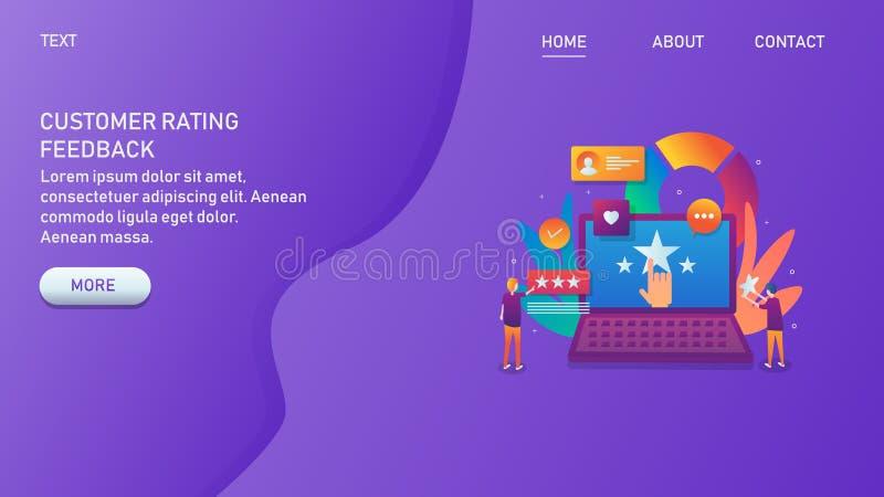 Inquéritos aos clientes, revisão, avaliação, feedback, pessoa que compartilha da opinião no conceito do laptop ilustração royalty free