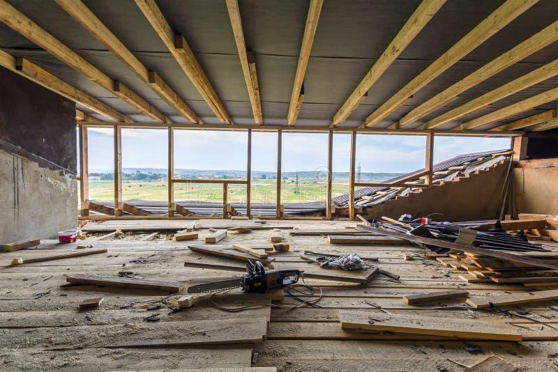 Inquadramento domestico nuovo dell'edilizia residenziale Inquadratura interna della a fotografia stock libera da diritti