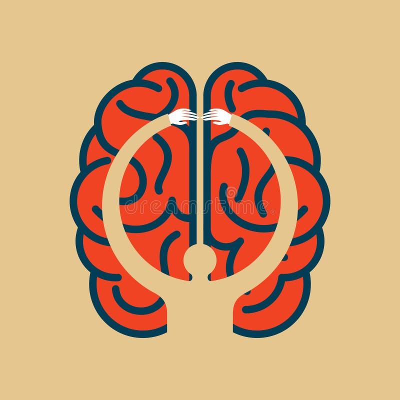 Inquiétez-vous l'idée de cerveau - illustration dans la tête humaine illustration libre de droits