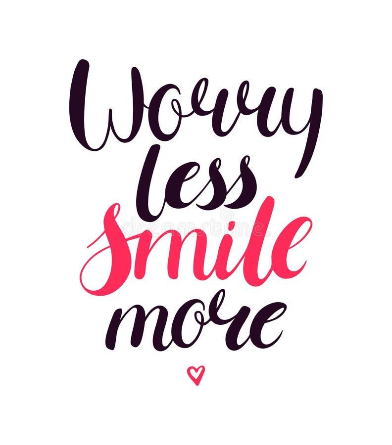Inquiétude moins de sourire davantage illustration de vecteur