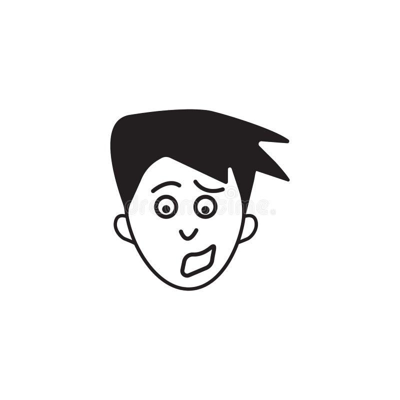 inquiétude sur l'icône de visage Élément d'illustration humaine d'éléments d'émotions Icône de la meilleure qualité de conception illustration libre de droits