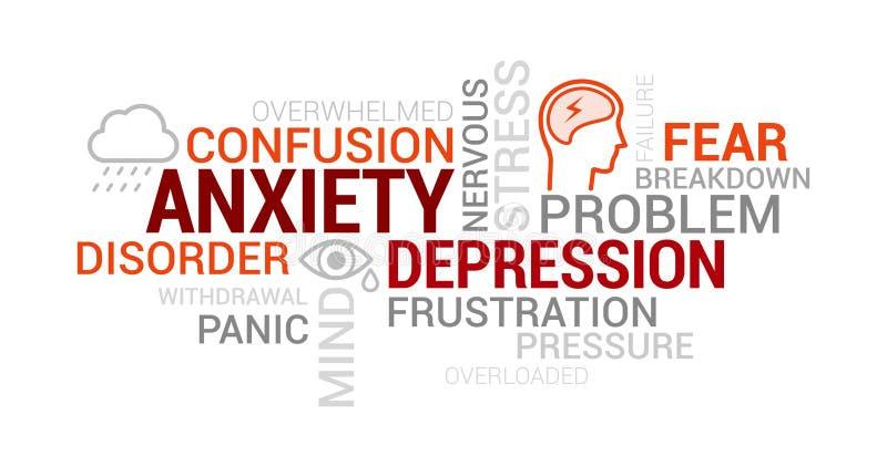 Inquiétude, troubles mentaux et nuage de tags de dépression illustration de vecteur