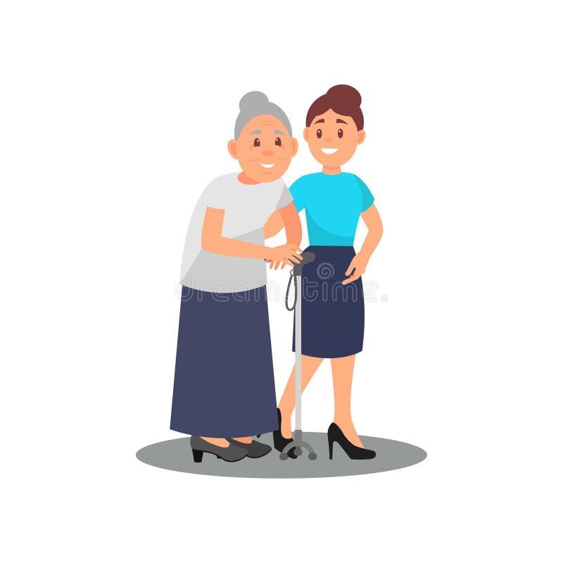 Inquietação voluntário da moça com a mulher idosa Senhora idosa com vara e assistente social de passeio Oferecendo o tema liso ilustração stock