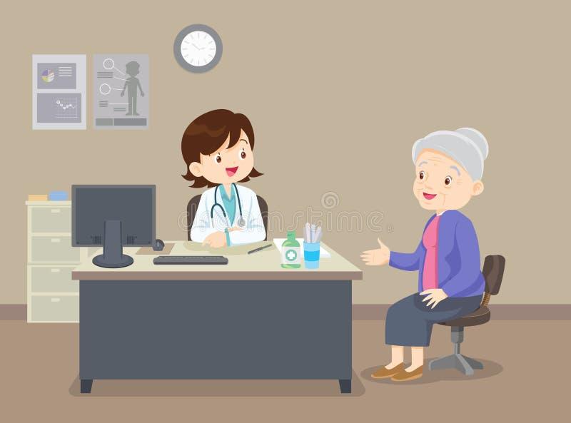 Inquieta??o com as pessoas idosas Doutor e paciente idoso ilustração stock