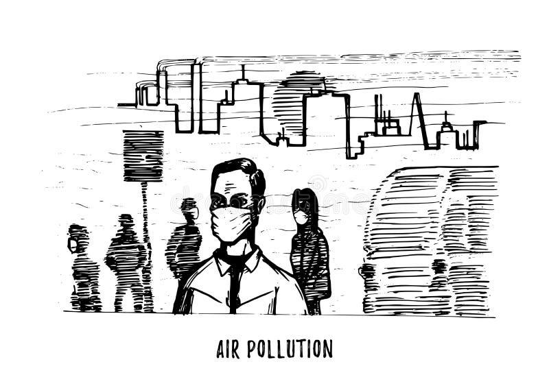 Inquinamento atmosferico, illustrazione disegnata a mano Schizzo della città smoggy, tema dell'ambiente di contaminazione nel vet illustrazione di stock