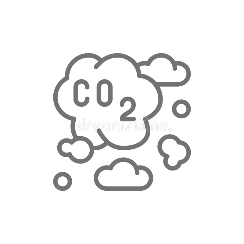 Inquinamento atmosferico, smog industriale, linea di emissioni di CO2 icona illustrazione vettoriale