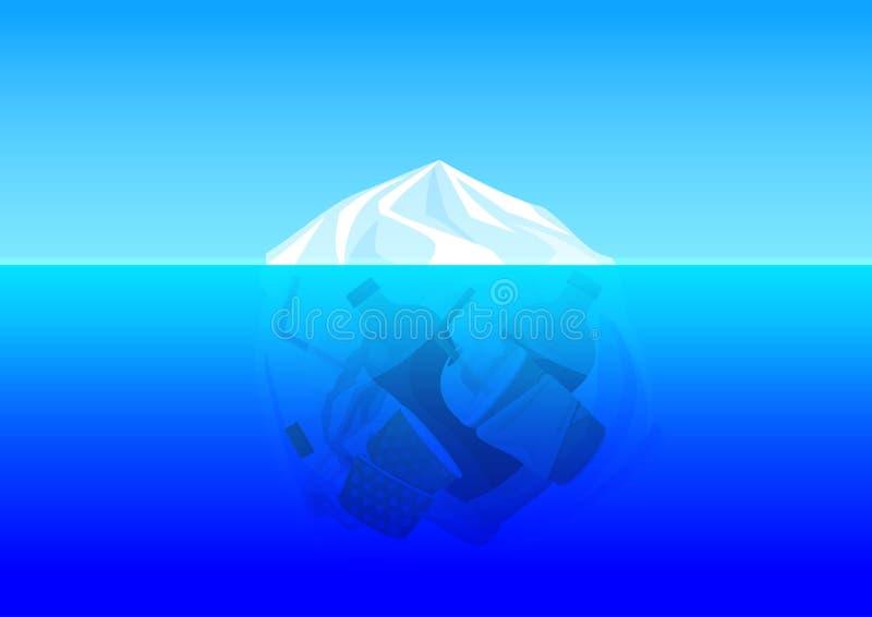 Inquinamento dell'ambiente del sacchetto di plastica con l'oceano subacqueo residuo del ghiacciaio della montagna dell'iceberg e  illustrazione di stock