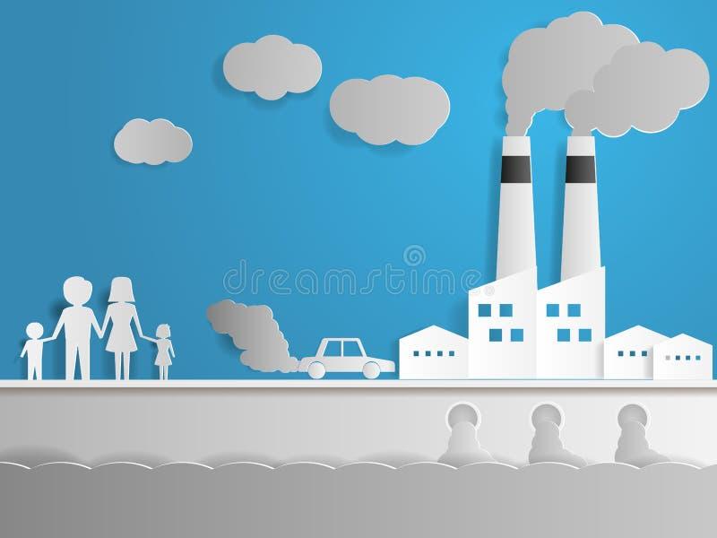 Inquinamento delle acque e dell'aria con la fabbrica illustrazione vettoriale