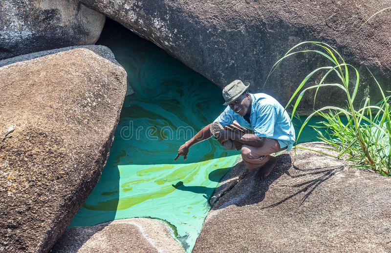 Inquinamento e fiume contaminato Nilo vicino a Mwanza, Africa fotografia stock libera da diritti