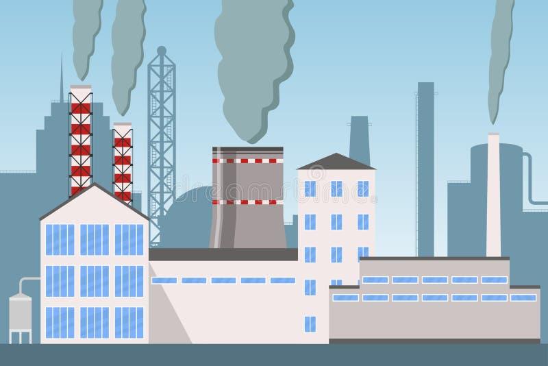 Inquinamento industriale del camino della fabbrica di industria con fumo, paesaggio industriale della città con le piante, fabbri illustrazione vettoriale