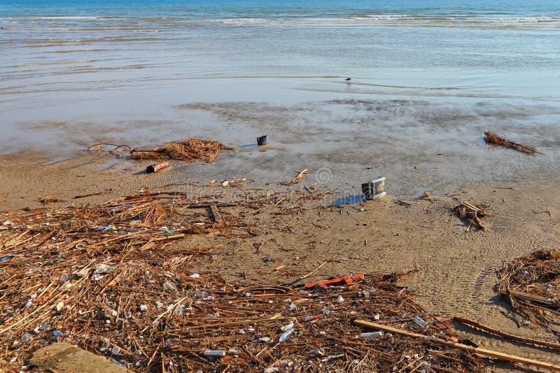 Inquinamento sulla costa fotografia stock libera da diritti