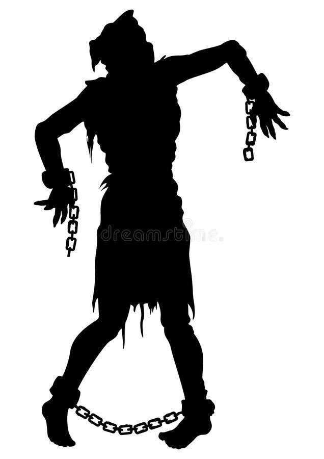 Inquisitie uitgevoerd zombiesilhouet royalty-vrije illustratie
