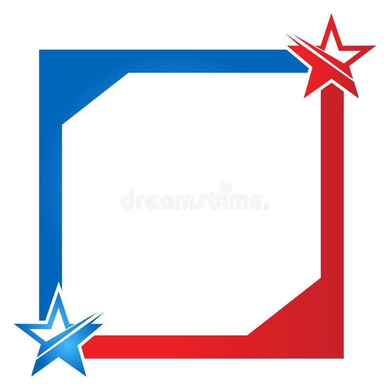 Inrama bakgrund med det röda bandet och stjärnor av USA-flaggan royaltyfri illustrationer