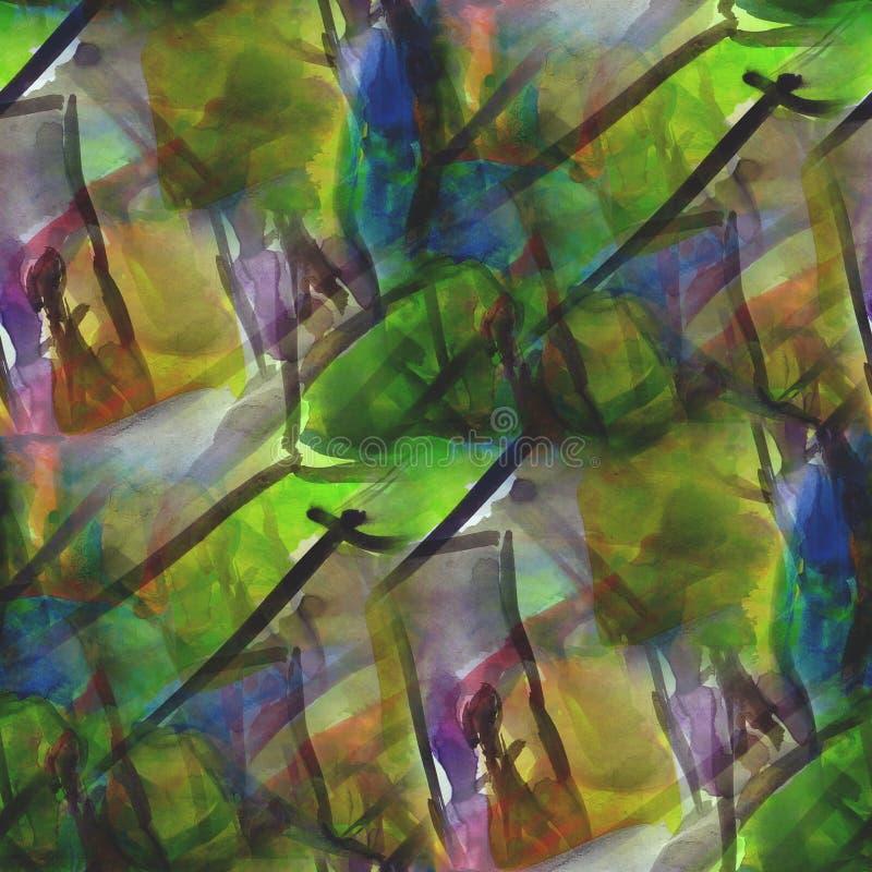Inrama bruna gröna grafiska den sömlösa stilpaletten vektor illustrationer