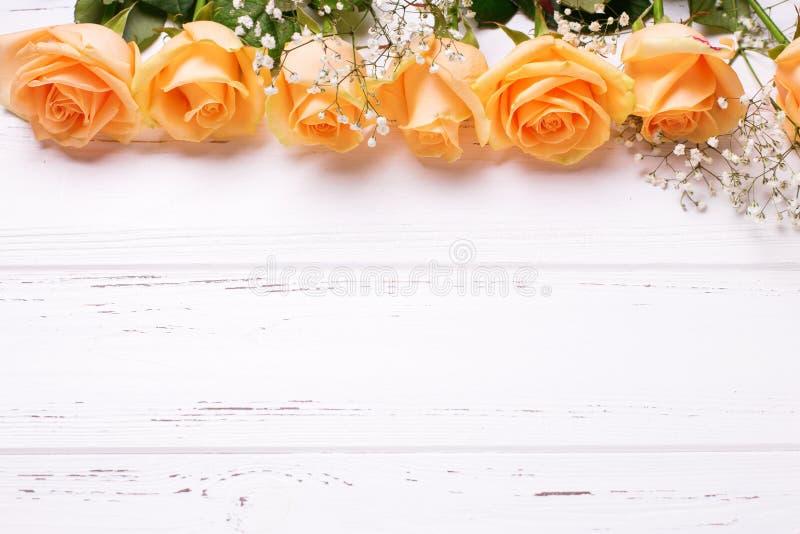Inrama eller gränsa från blommor för persikafärgrosor på vitt trä fotografering för bildbyråer
