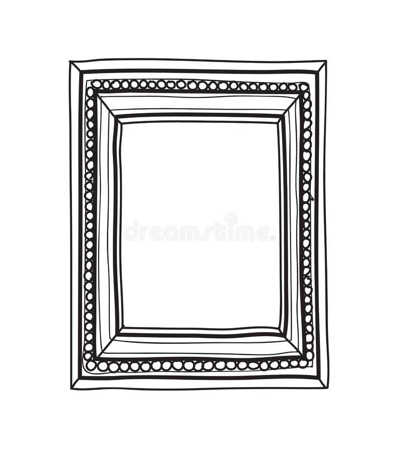 Inrama handen drog linjen illustration redigerbart S för konsttappningvektorn stock illustrationer