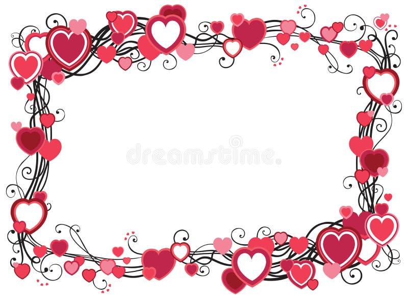 Inrama med hjärtor stock illustrationer