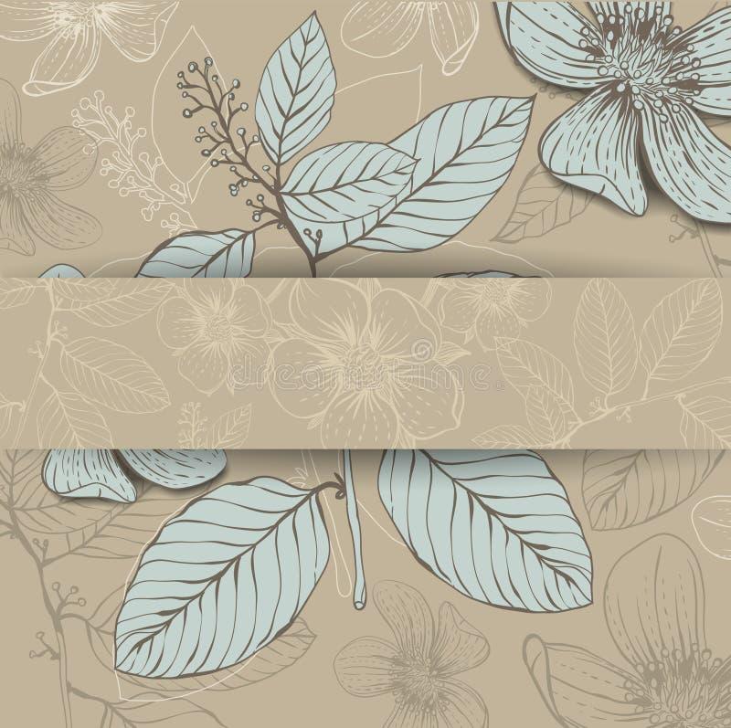 Inrama med räcker utdragna blommor royaltyfri illustrationer