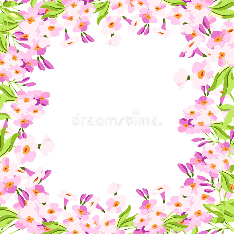 Inrama med rosa blommor vektor illustrationer