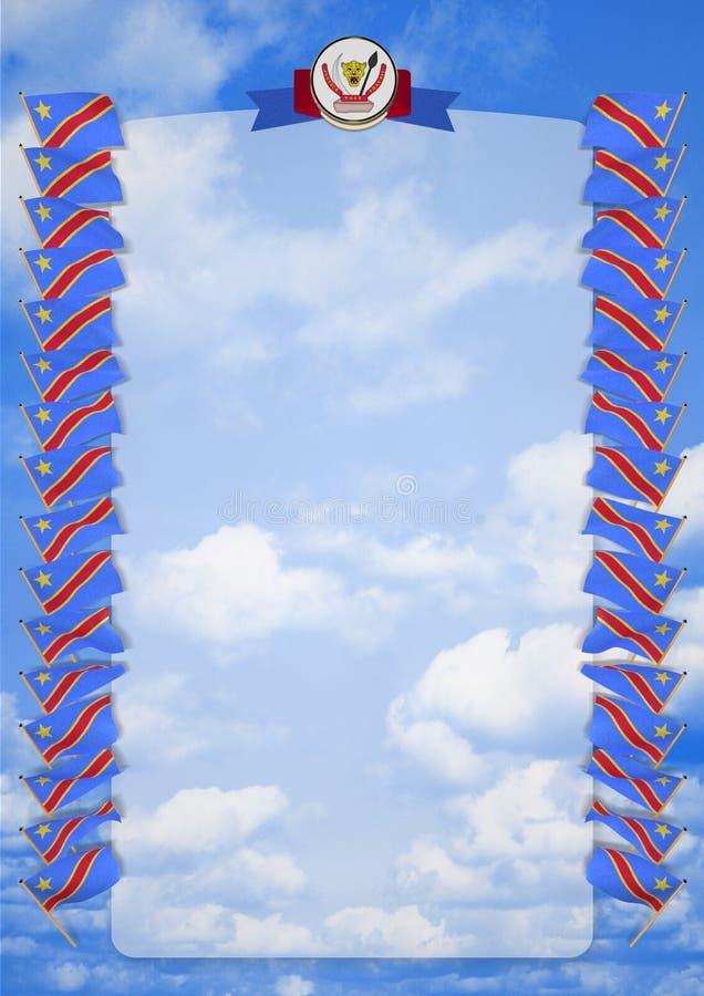 Inrama och gränsa med flaggan och vapenskölden Demokratiska republiken Kongo illustration 3d royaltyfri illustrationer
