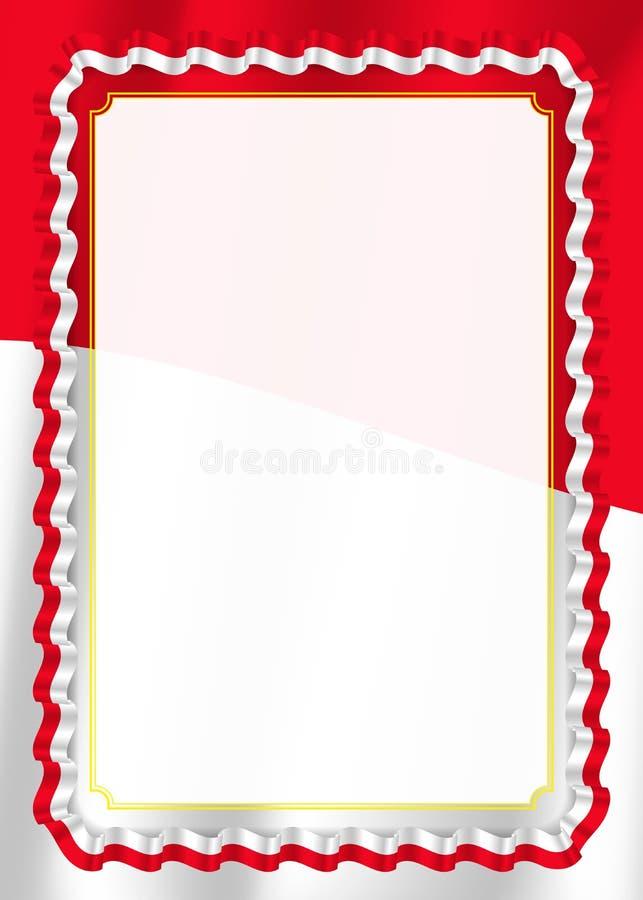 Inrama och gränsen av bandet med den Monaco flaggan, mallbeståndsdelar för ditt certifikat och diplomet vektor stock illustrationer