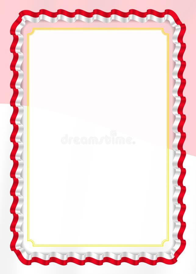 Inrama och gränsen av bandet med den Monaco flaggan, mallbeståndsdelar för ditt certifikat och diplomet vektor vektor illustrationer