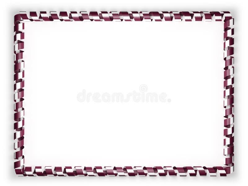 Inrama och gränsen av bandet med den qatariska flaggan illustration 3d royaltyfri illustrationer
