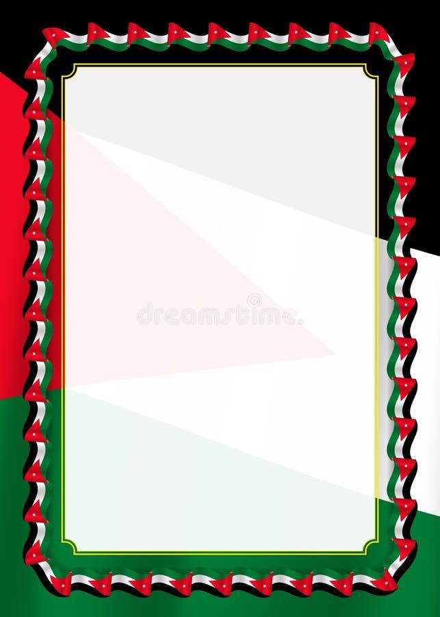 Inrama och gränsen av bandet med Jordanienflaggan, mallbeståndsdelar för ditt certifikat och diplomet vektor stock illustrationer