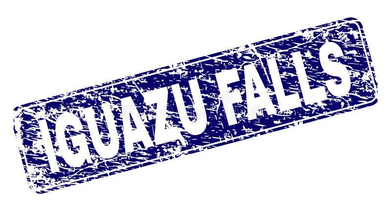 Inramad rundad rektangelstämpel för Grunge IGUAZU FALLS stock illustrationer