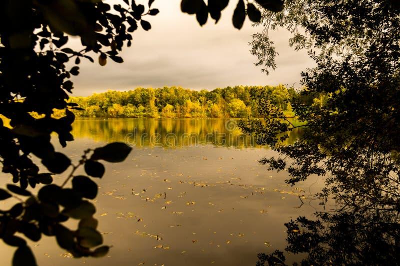 Inramad sjöreflexioner och höstfärger/sidaram och färgrika träd royaltyfria bilder