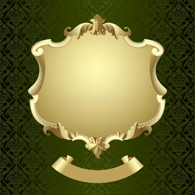 Inramad sköld för tappning guld med banret på mörker - grönt barockt orange vektor illustrationer