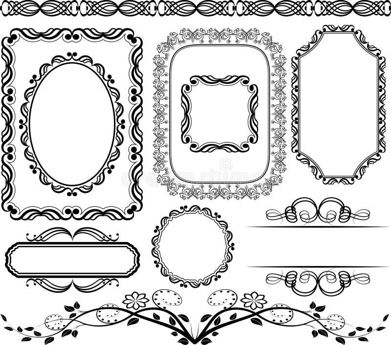 Inramar och gränsar royaltyfri illustrationer