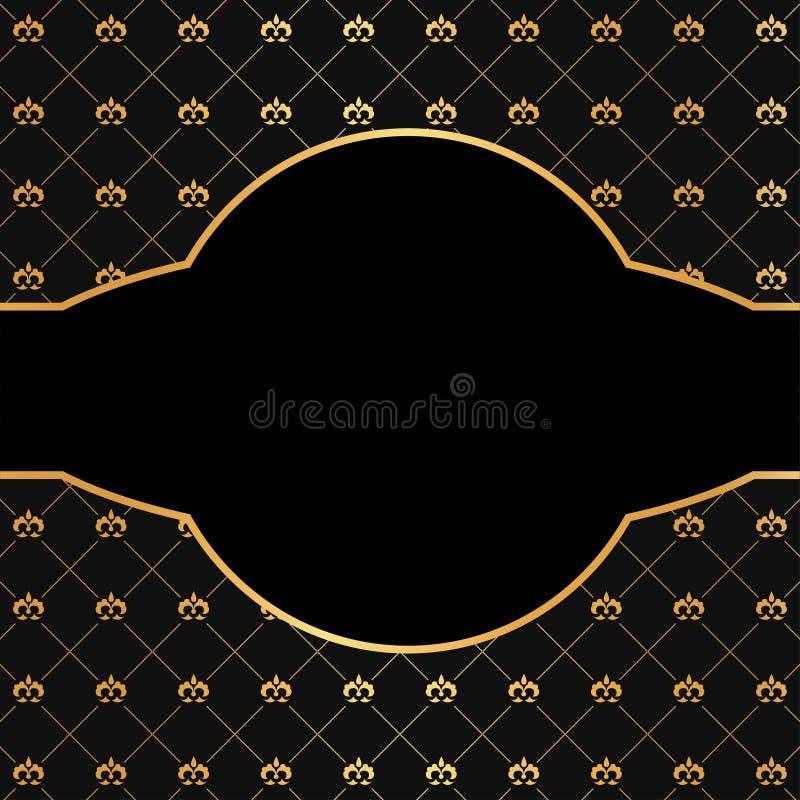 Svart bakgrund för tappning med guld- beståndsdelar och   vektor illustrationer