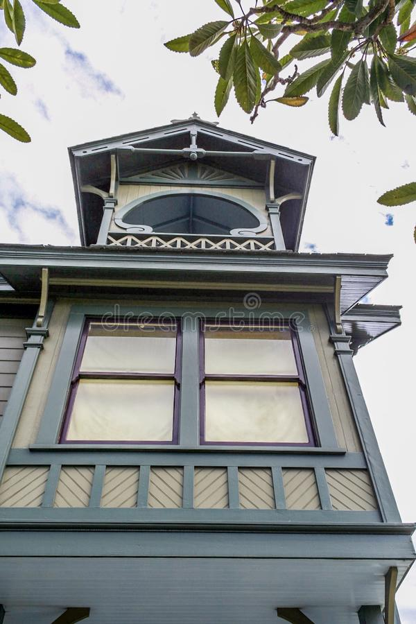 Inramat viktorianskt fönster arkivbilder