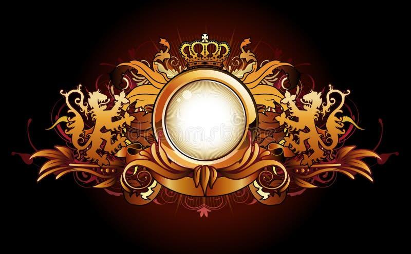 inramnin guld- heraldiskt stock illustrationer
