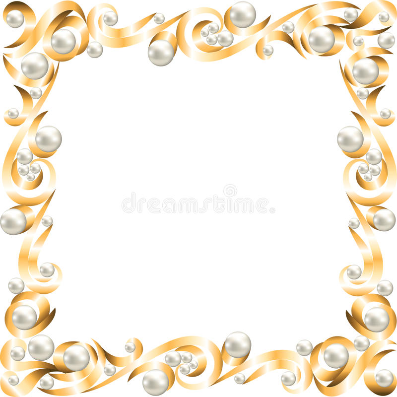 inramnin guld- smycken stock illustrationer